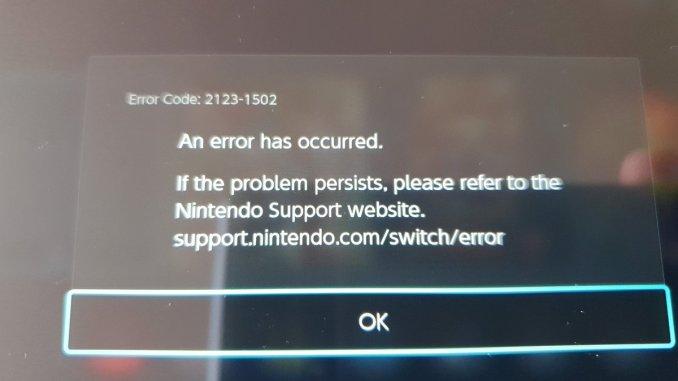 Das Bild zeigt ein auftretendes Problem beim neuesten Switch-Update.