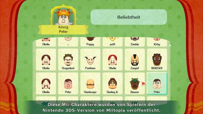 """Das Bild zeigt Mii in """"Miitopia"""", unteranderem Peter Griffin aus Family Guy als Mii."""