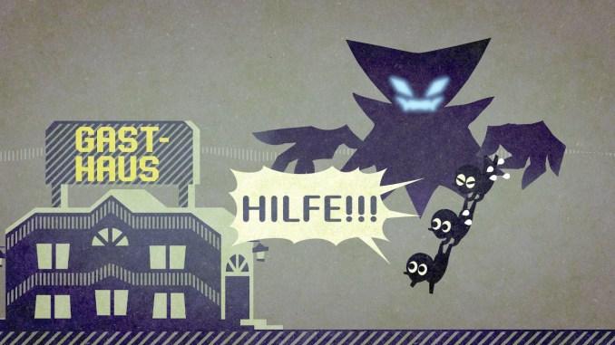 """Das Bild zeigt die Zwischensequenz aus """"Miitopia"""", wie der dunkle Fürst die Teamkameraden entführt."""