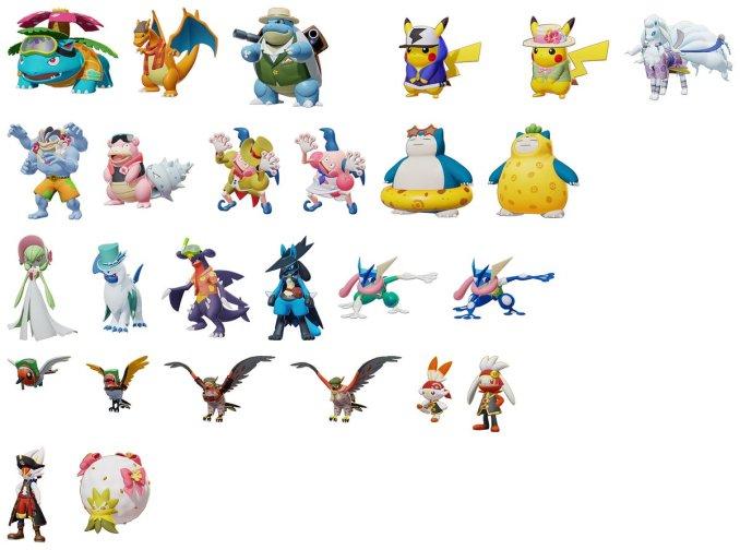 """Das Bild zeigt einige Skins aus dem Spiel """"Pokémon Unite""""."""