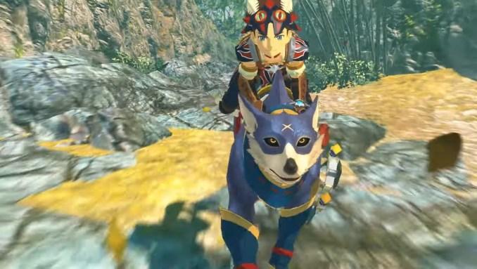 """Das Bild zeigt den Protagonisten auf den Rücken eines Palamute in """"Monster Hunter Stories 2""""."""