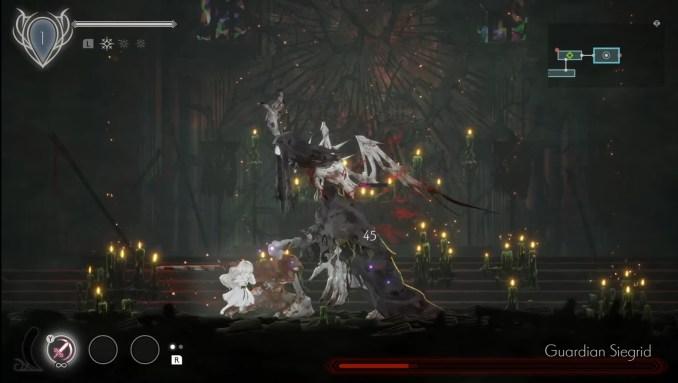 """Das Bild zeigt einen Bosskampf in """"Ender Lilies: Quietus of the Knights""""."""