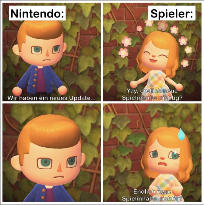 """Das Bild zeigt ein Meme zum neuen Update von """"Animal Crossing: New Horizons""""."""