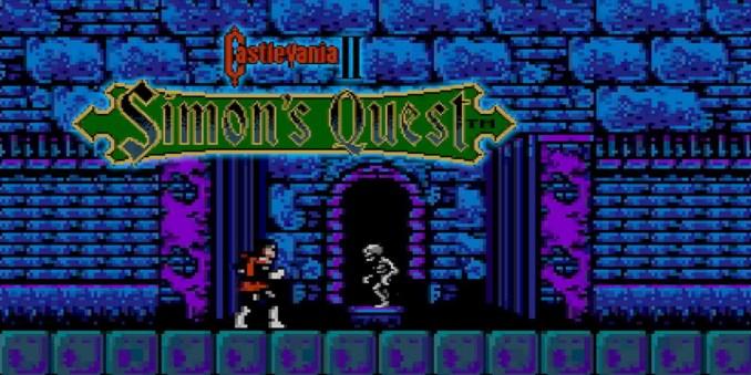 Das Bild zeigt den Hauptbidlschirm von Casltevania: Simon´s Quest.