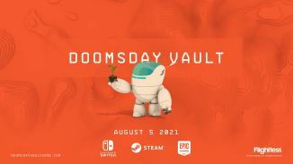 """Das Bild zeigt das Logo und den Protagonisten von """"Doomsday Vault""""."""