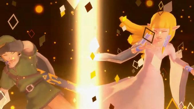 """Das Bild zeigt Link und Zelda in """"Skyward Sword HD""""."""