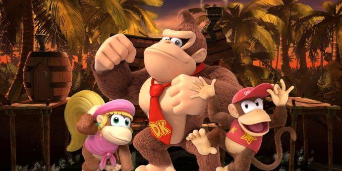 Auf dem Bild sieht man Dokey-Kong, Diddy-Kong und Candy-Kong.