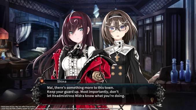 Auf dem Bild sieht man zwei Charaktere aus dem Spiel Death end re;Quest 2. Linkssieht man die Hauptcharakterin Mai Toyama.