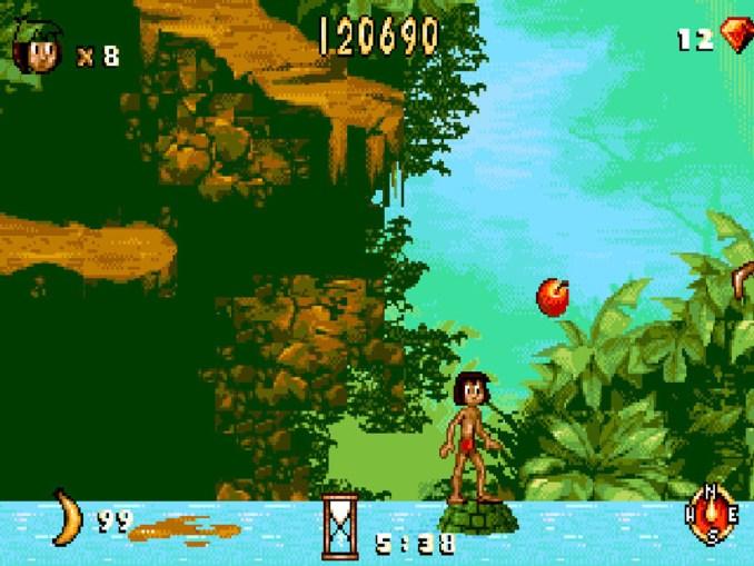 """Das Bild zeigt eine Sprungsequenz aus """"Das Dschungelbuch"""", welche in der """"Disney Classic Games Collection"""" enthalten sein soll."""