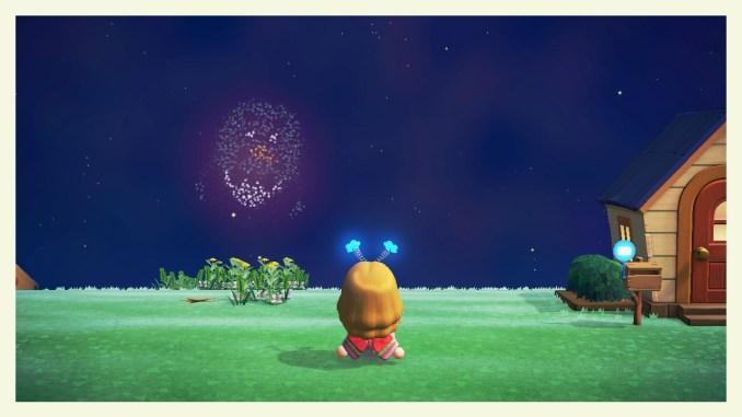 """Das Bild zeigt ein Design von Kofi als Feuerwerk in """"Animal Crossing: New Horizons""""."""