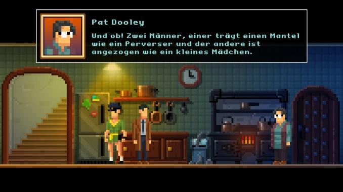 """Auf diesem Bild des Spiels """"The Darkside Detective: A Fumble in the Dark"""" sind drei Männer seltsam gekleidet zu sehen (mit Textbox)."""