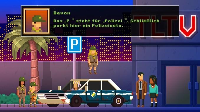 """Auf diesem Bild des Spiels """"The Darkside Detective: A Fumble in the Dark"""" ist ein Polizeiauto vor einem Verkehrsschild zu sehen (mit Textbox)."""