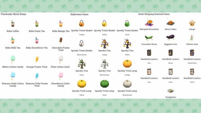 """Das Bild zeigt alle Items aus dem Update 1.11 für """"Animal Crossing: New Horizons""""."""