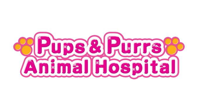 """Das Bild zeigt das Logo von """"Pups & Purrs Animal Hospital""""."""