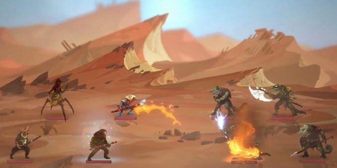 """Das Bild zeigt einen Kampf in """"Sandwalkers""""."""