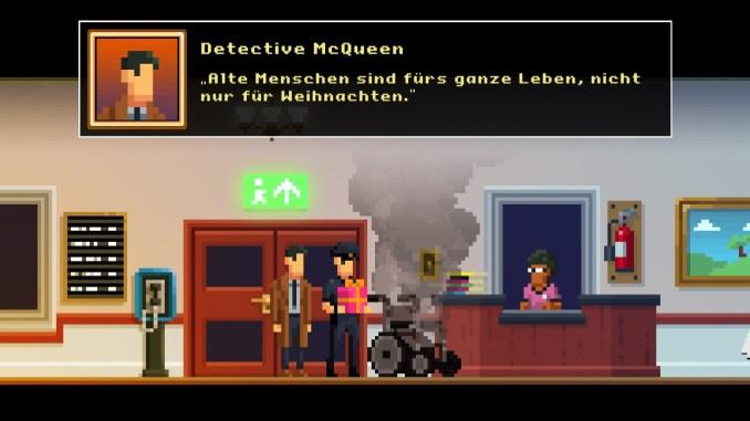 """Auf diesem Bild des Spiels """"The Darkside Detective: A Fumble in the Dark"""" ist ein rauchernder Rollstuhl zu sehen (mit Textbox)."""
