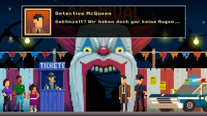 """Auf diesem Bild des Spiels """"The Darkside Detective: A Fumble in the Dark"""" ist ein großer Clownskopf mit offenem Mund zu sehen (mit Textbox)."""