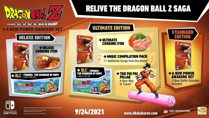 """Das Bild zeigt die verschiedenen Switch-Editionen von """"Dragon Ball Z: Kakarot + A New Power Awakens""""."""