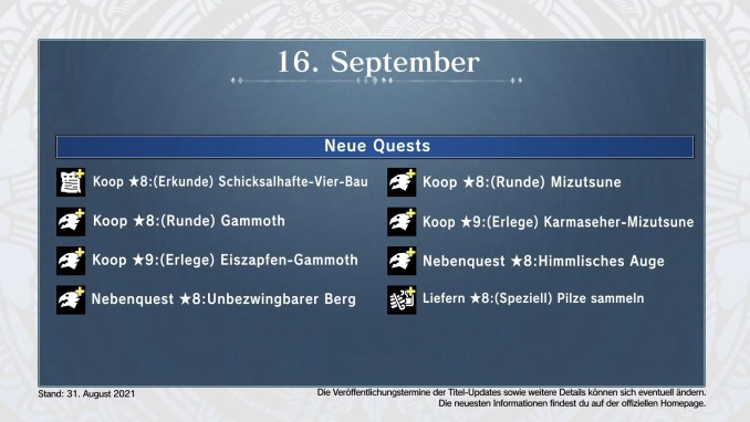 """Das Bild zeigt die bevorstehenden Quests in """"Monster Hunter Stories 2""""."""