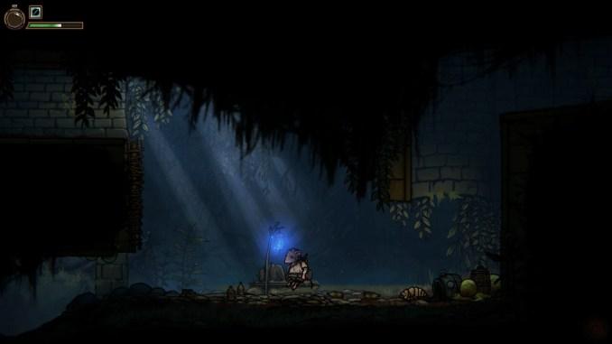 Das Bild zeigt einen Speicherpunkt im dunklen Setting.