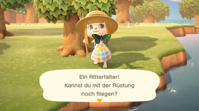 """Das Bild zeigt den Ritterfalter, der nur noch im Juni in """"Animal Crossing: New Horizons"""" fangbar ist, bevor er wieder für einige Zeit verschwindet."""