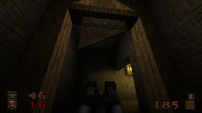 """Auf diesem Screenshot des Spiels """"Quake"""" ist eine Guillotine zu sehen."""