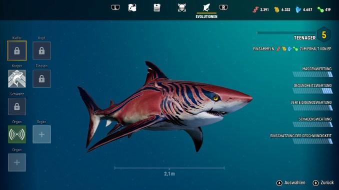 """Das Bild zeigt den """"Evolutionen""""-Bildschirm in """"ManEater""""."""