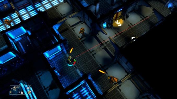 """Das Bild zeigt einen der Helden in """"Space Revenge"""", wie er von beiden Seiten angegriffen wird."""