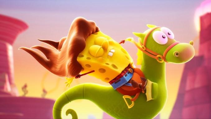 """Das Bild zeigt einen Cowboy-SpongeBob auf einem Seepferdchen in """"SpongeBob Schwammkopf: The Cosmic Shake""""."""