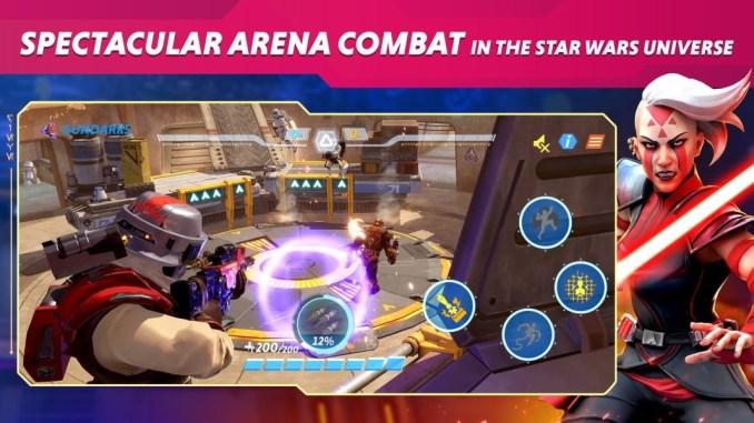 """Das Bild zeigt das Kampfgeschehen von """"Star Wars Hunters""""."""