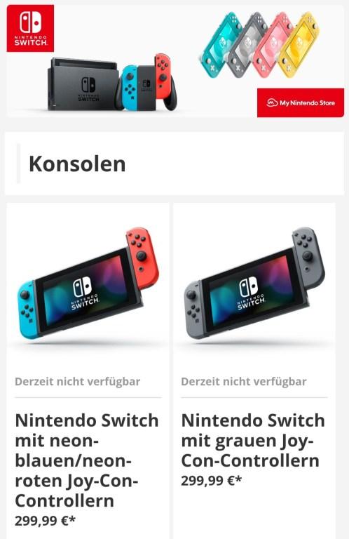 Das Bild zeigt den angepassten Preis der Switch im My Nintendo Store.