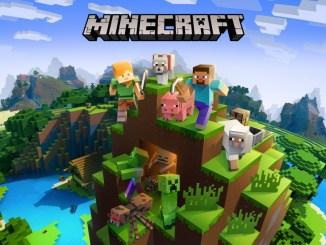"""Das Bild zeigt das Logo des Spieles """"Minecraft""""."""