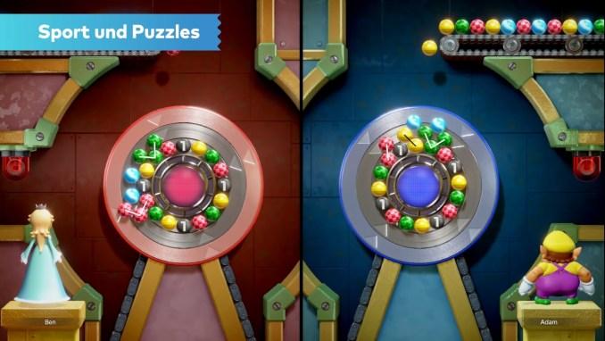 """Das Bild zeigt ein Minispiel aus dem Modus """"Sport und Puzzles"""" in """"Mario Party Superstars""""."""