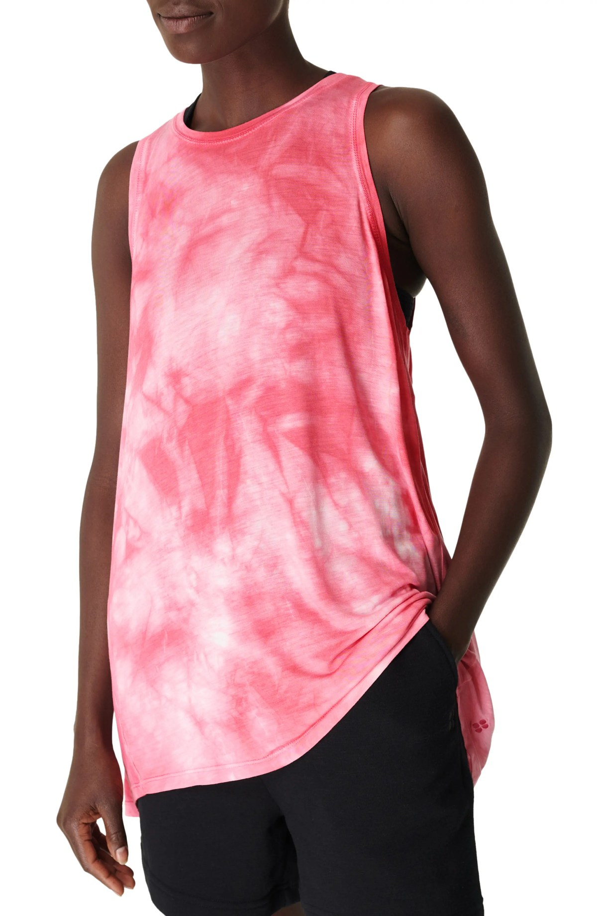 SWEATY BETTY Easy Peazy Tank Top, Main, color, WHITE PLACEMENT TIE DYE