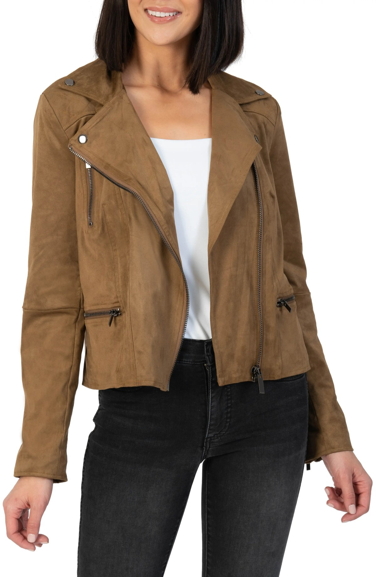 KUT FROM THE KLOTH Quinn Faux Suede Moto Jacket, Main, color, WALNUT