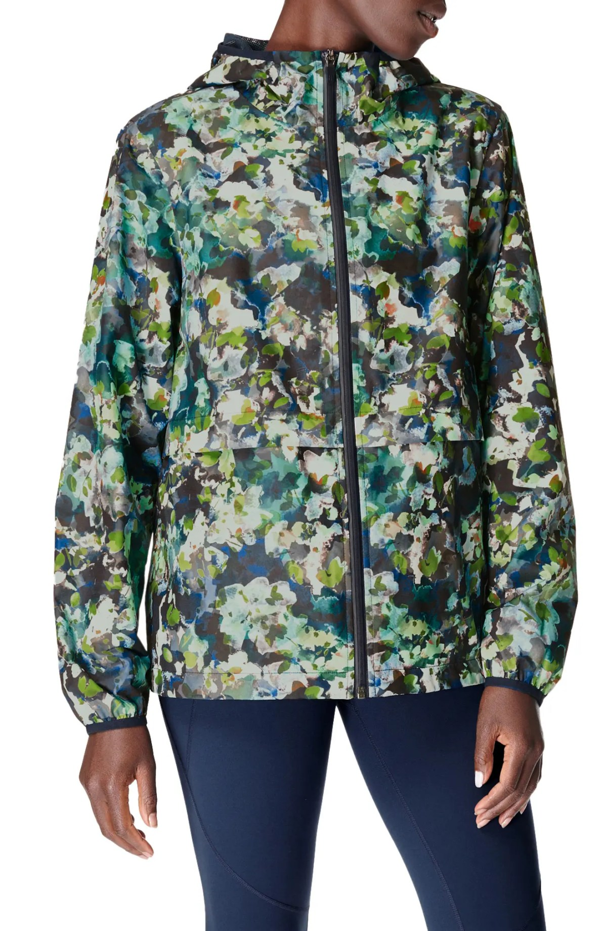 SWEATY BETTY Pack It Up Water Resistant Rain Mac, Main, color, GREEN SPRING FLORAL PRINT