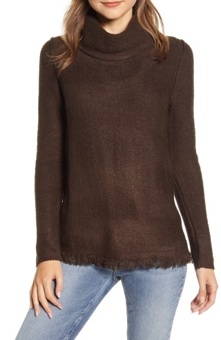 BEACHLUNCHLOUNGE Fringe Finish Cowl Neck Sweater, Main, color, BROWN