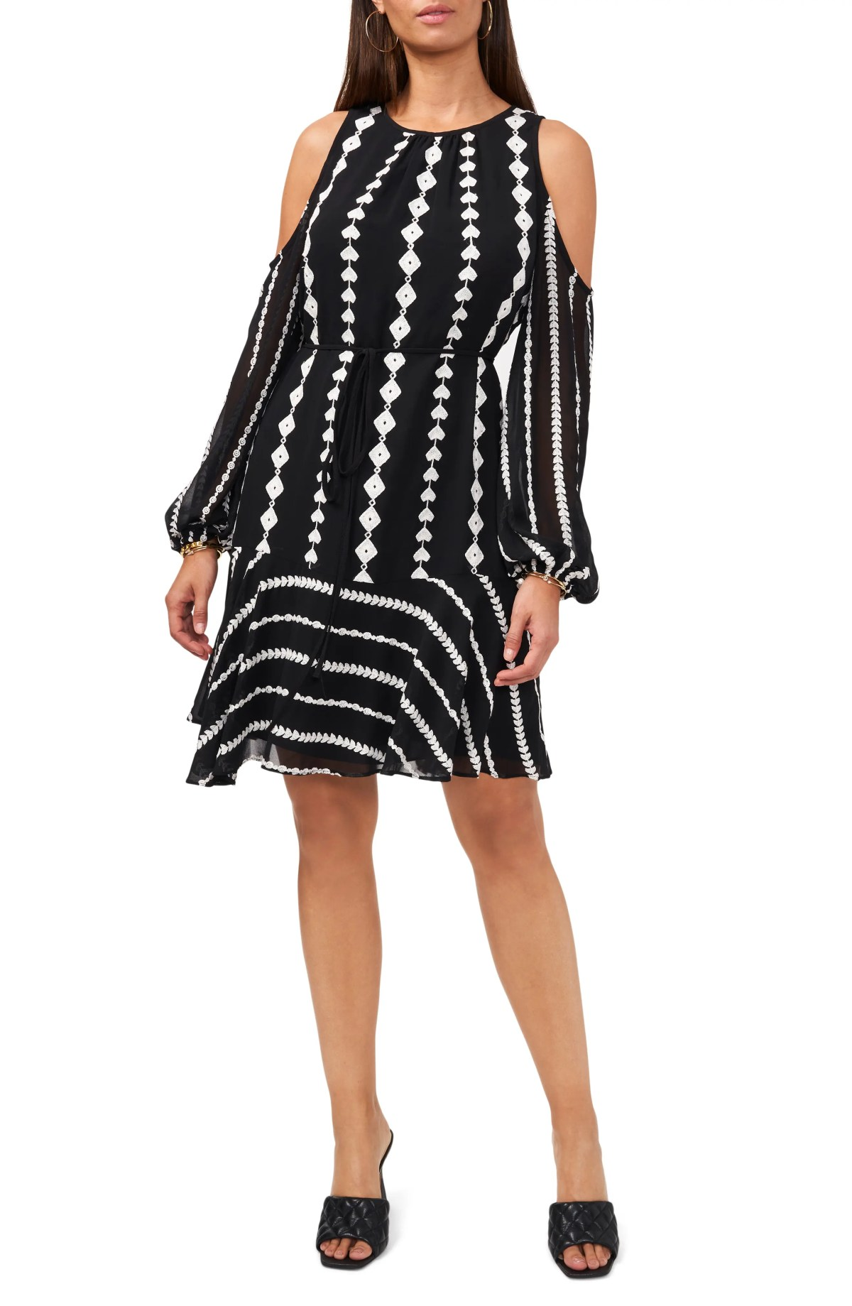 VINCE CAMUTO Geo Embroidery Cold Shoulder Long Sleeve Dress, Main, color, RICH BLACK
