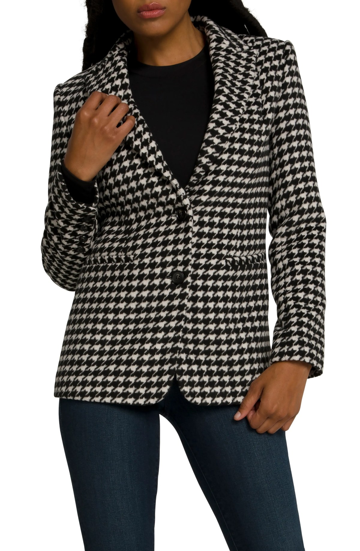 GOOD AMERICAN Houndstooth Blazer, Main, color, HOUNDSTOOTH001