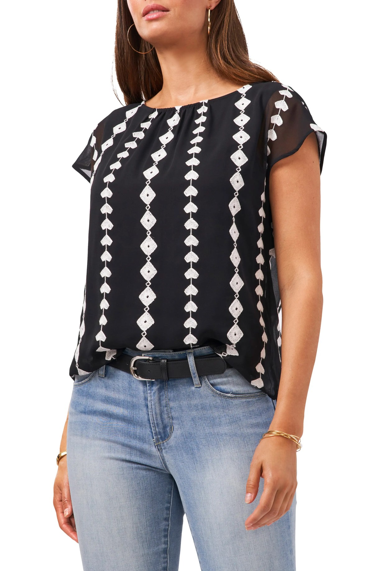 VINCE CAMUTO Embroidered Geo Pattern Chiffon Blouse, Main, color, RICH BLACK