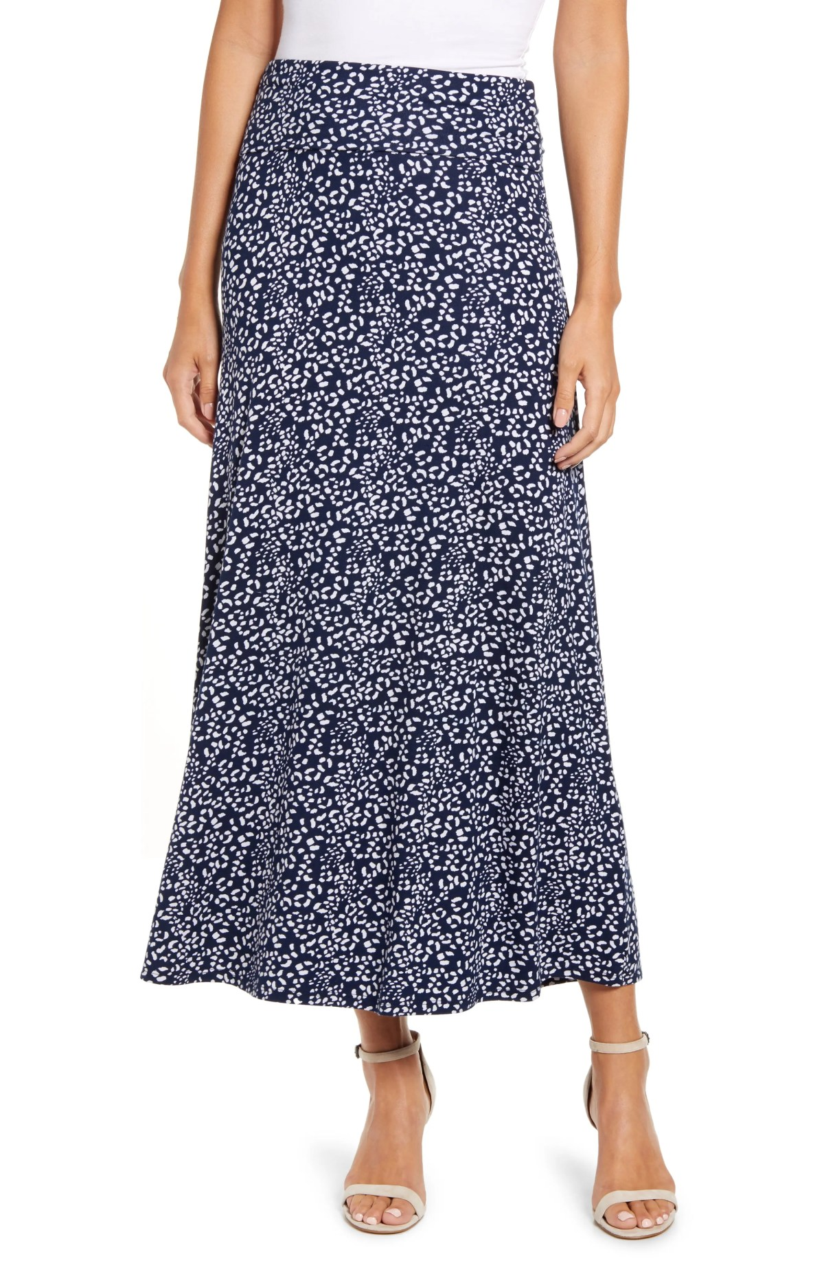 LOVEAPPELLA Roll Top Print Maxi Skirt, Main, color, NAVY/ IVORY