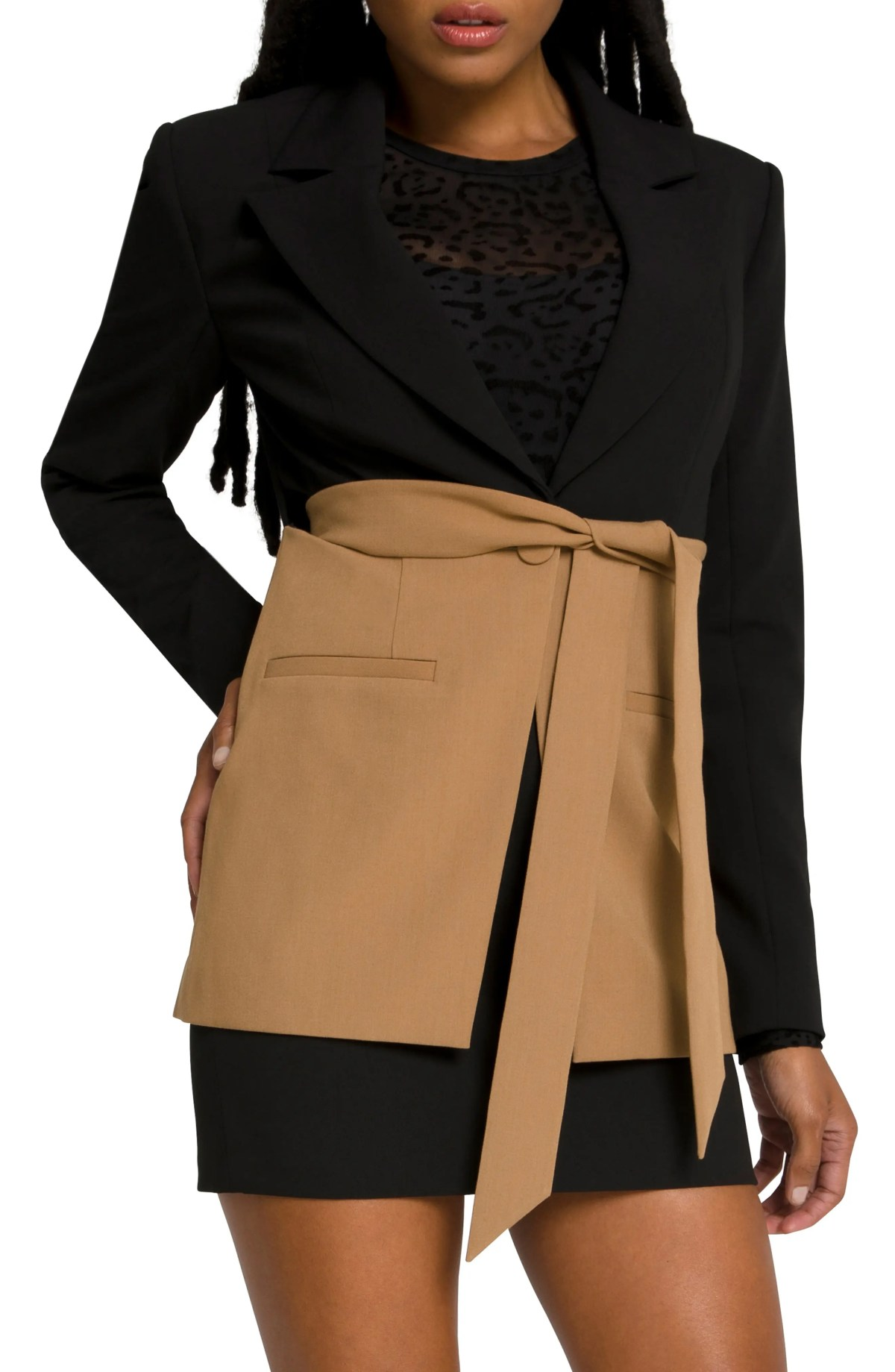 GOOD AMERICAN Side Slit Two-Tone Blazer, Main, color, BLACK001