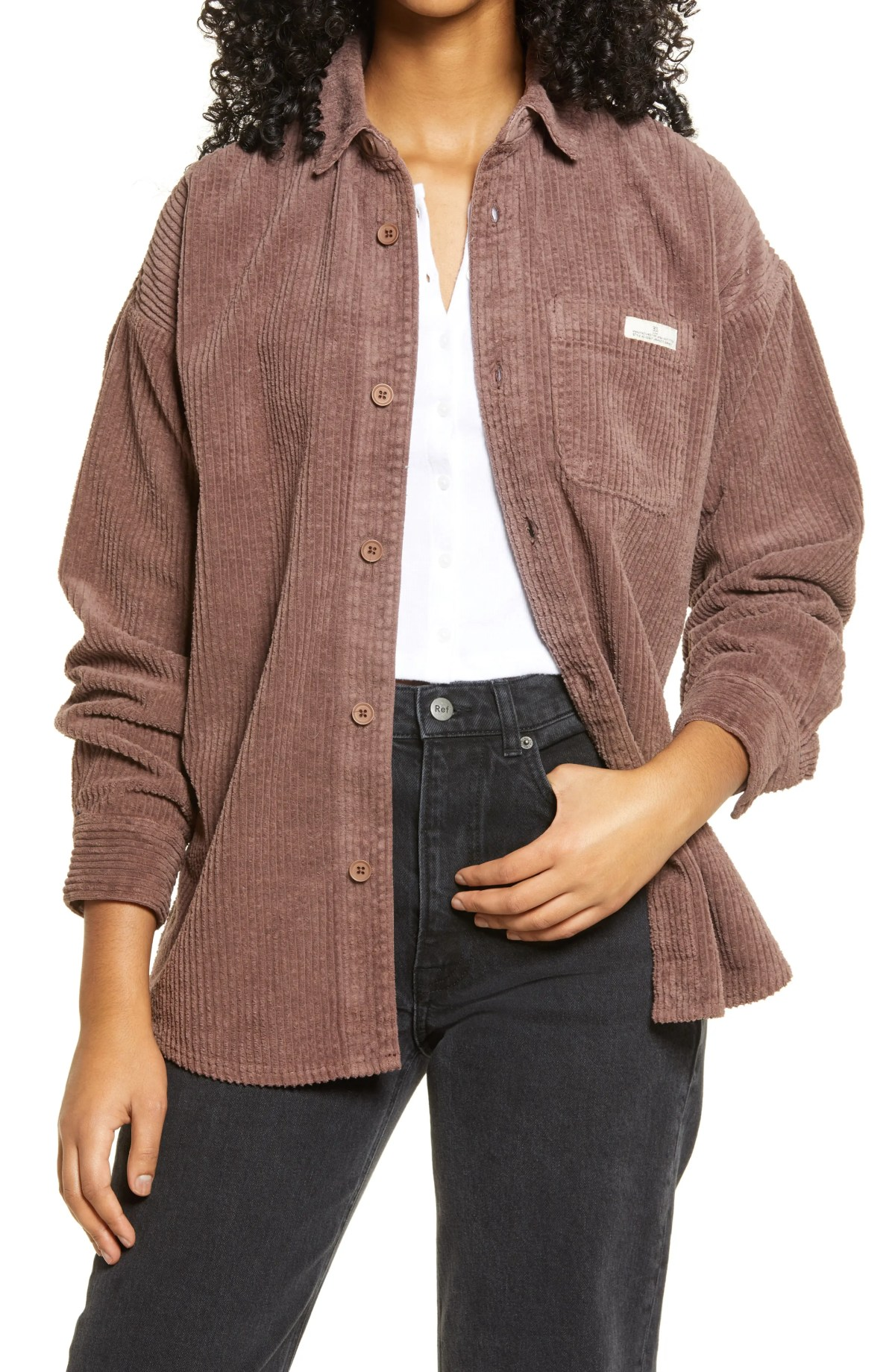 BDG URBAN OUTFITTERS Corduroy Shirt Jacket, Main, color, BROWN