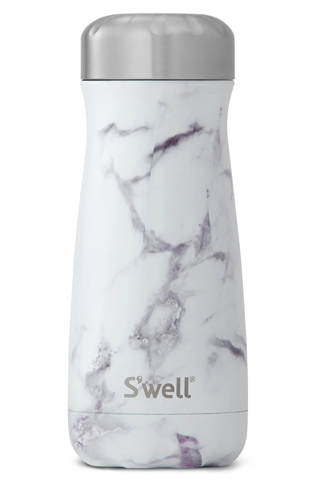 S'WELL Traveler White Marble 16-Ounce Insulated Stainless Steel Water Bottle, Main, color, WHITE MARBLE