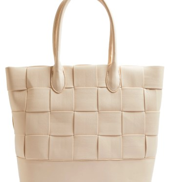 TOPSHOP Weave Faux Leather Tote, Main, color, STONE