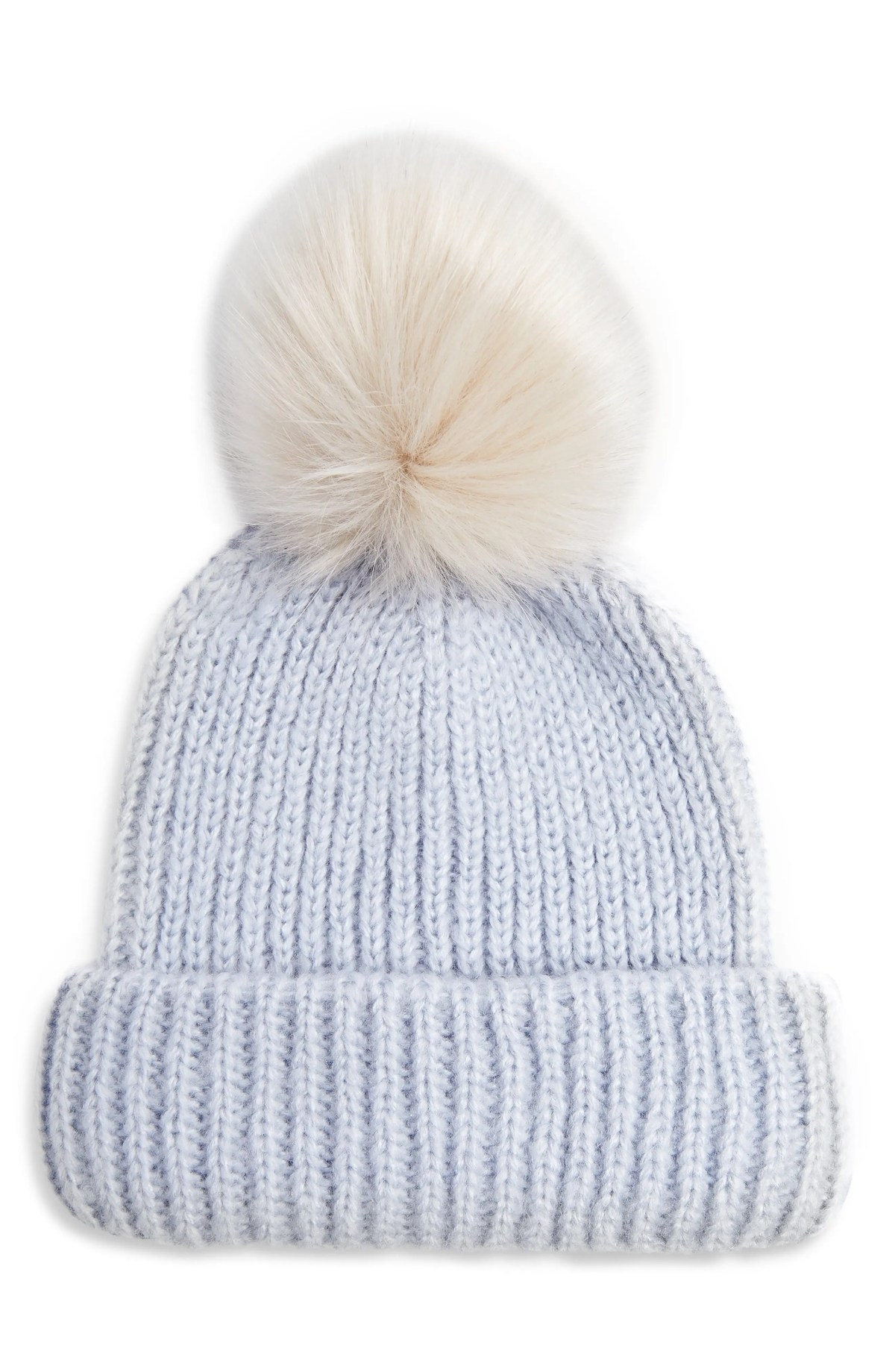 TOPSHOP Pom Beanie, Main, color, LIGHT BLUE