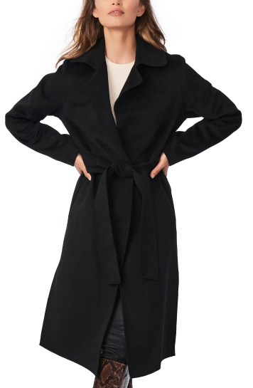 BERNARDO Belted Long Coat, Main, color, BLACK
