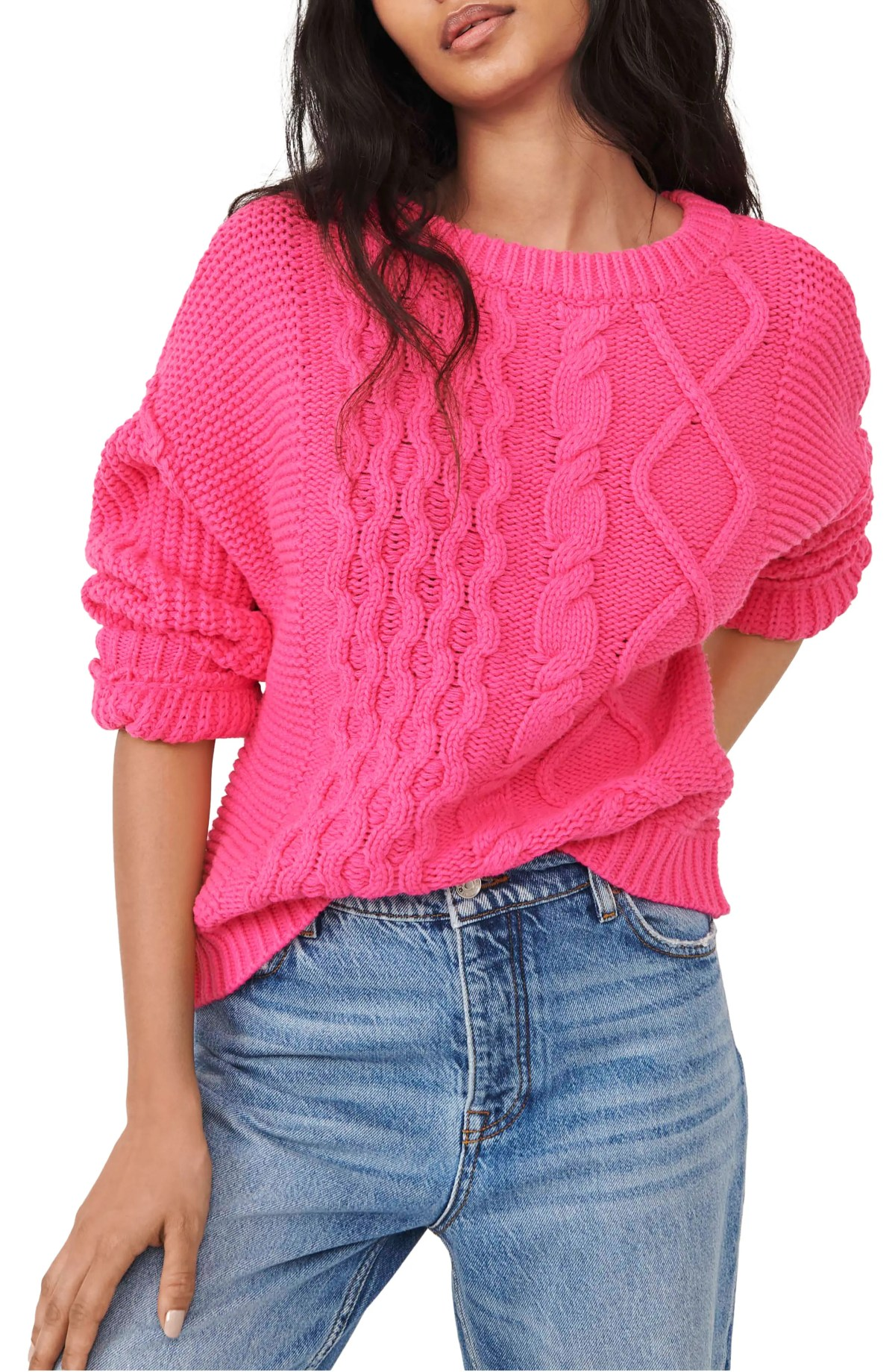 FREE PEOPLE Dream Cable Crewneck Sweater, Main, color, HIBISCUS HIGHLIGHT
