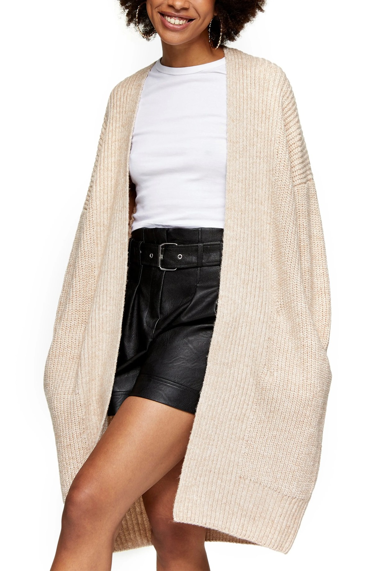 TOPSHOP Ribbed Open Front Cardigan, Main, color, OAT