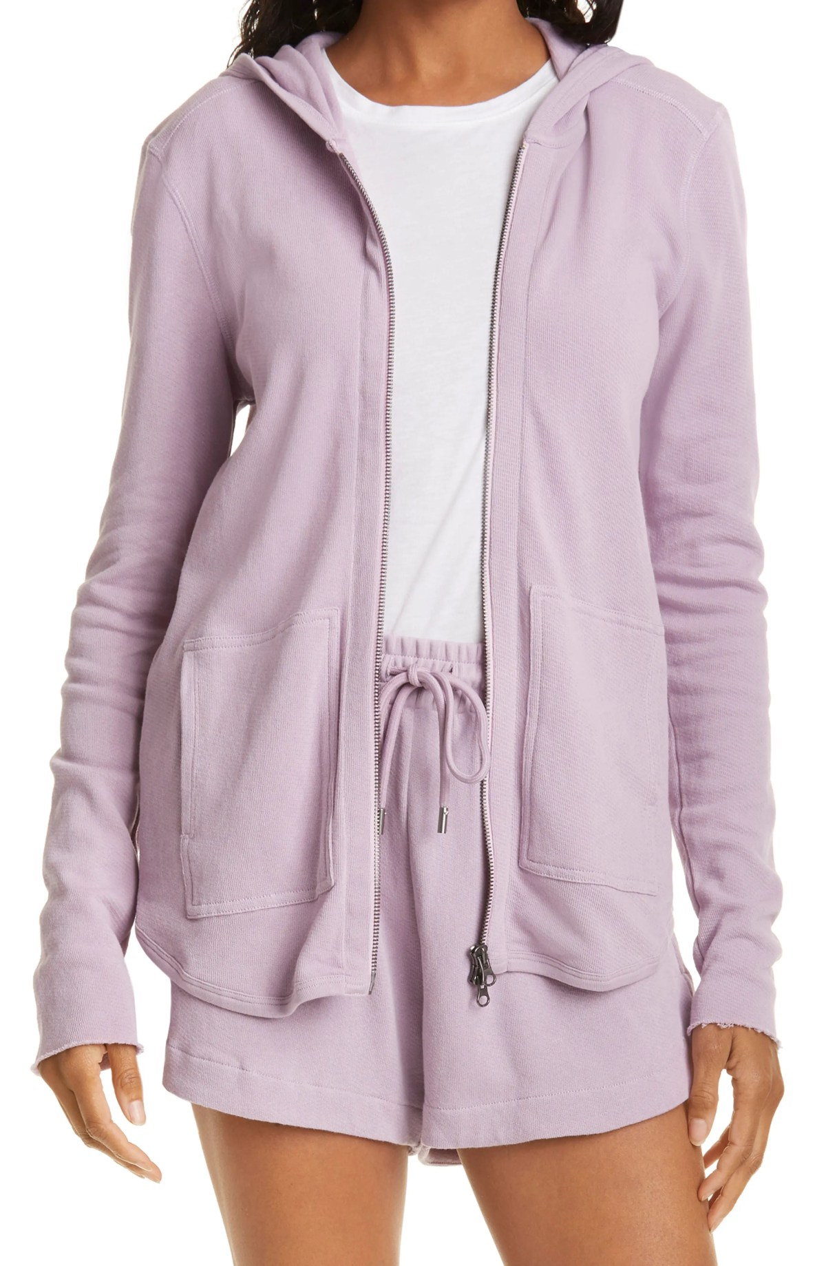 ATM ANTHONY THOMAS MELILLO Front Zip Hoodie, Main, color, LAVENDER